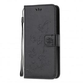Bloemen Book Case Samsung Galaxy A52 / A52s Hoesje - Zwart