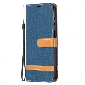 Denim Book Case Samsung Galaxy A12 Hoesje - Blauw