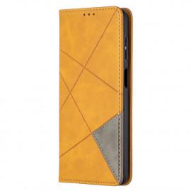 Geometric Book Case Samsung Galaxy A12 Hoesje - Bruin