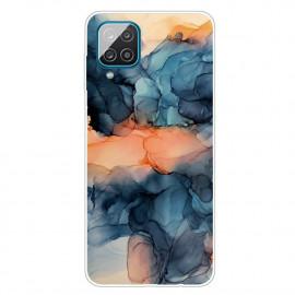 Marmer TPU Samsung Galaxy A12 Hoesje - Blauw / Oranje