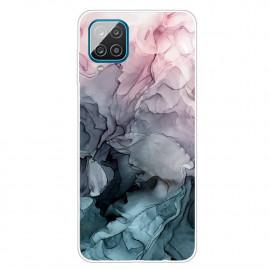 Marmer TPU Samsung Galaxy A12 Hoesje - Grijs / Blauw