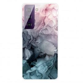 Marmer TPU Samsung Galaxy S21 Hoesje - Grijs / Blauw