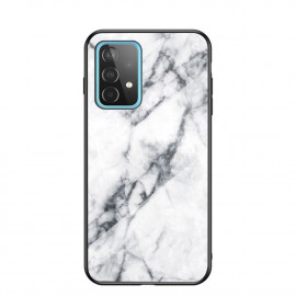 Marble Glass Cover Samsung Galaxy A52 / A52s Hoesje - Wit