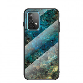 Marble Glass Cover Samsung Galaxy A52 Hoesje - Emerald / Goud