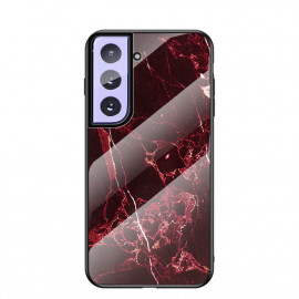 Marble Glass Cover Samsung Galaxy S21 Hoesje - Rood