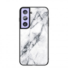 Marble Glass Cover Samsung Galaxy S21 Hoesje - Wit