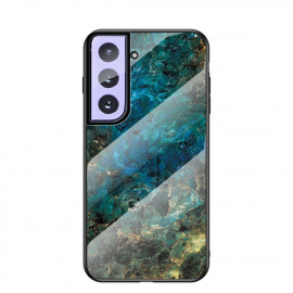 Marble Glass Cover Samsung Galaxy S21 Hoesje - Emerald / Goud