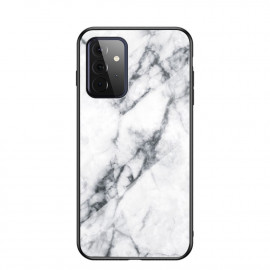 Marble Glass Cover Samsung Galaxy A72 Hoesje - Wit