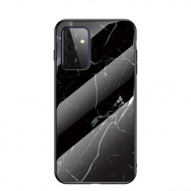 Marble Glass Cover Samsung Galaxy A72 Hoesje - Zwart
