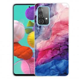 Marmer TPU Samsung Galaxy A72 Hoesje - Roze / Blauw