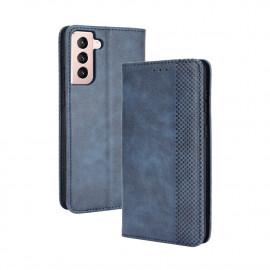 Vintage Book Case Samsung Galaxy S21 Hoesje - Blauw