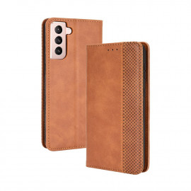 Vintage Book Case Samsung Galaxy S21 Plus Hoesje - Bruin