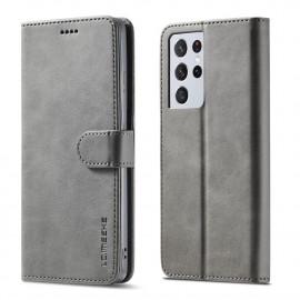 Luxe Book Case Samsung Galaxy S21 Ultra Hoesje - Grijs