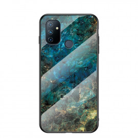 Marble Glass Cover OnePlus Nord N100 Hoesje - Emerald / Goud