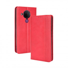 Vintage Book Case Nokia 5.4 Hoesje - Rood