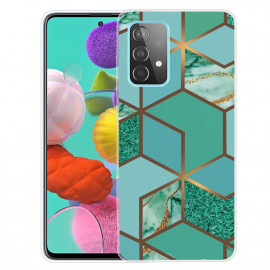 Marmer TPU Samsung Galaxy A32 4G Hoesje - Groen / Goud