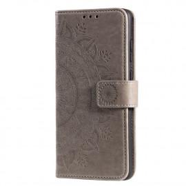 Bloemen Book Case Xiaomi Redmi 9 Hoesje - Grijs