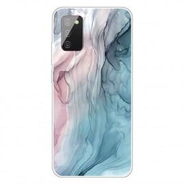 Marmer TPU Samsung Galaxy A02s Hoesje - Pink / Blauw