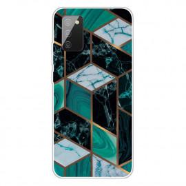 Marmer TPU Samsung Galaxy A02s Hoesje - Emerald / Goud