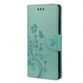 Bloemen Book Case Xiaomi Poco F3 Hoesje - Cyan