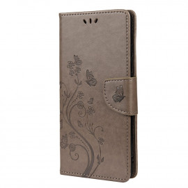 Bloemen Book Case Xiaomi Poco F3 Hoesje - Grijs
