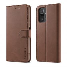 Luxe Book Case Xiaomi Redmi Note 10 Pro Hoesje - Donkerbruin