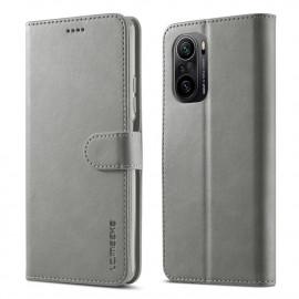 Luxe Book Case Xiaomi Poco F3 Hoesje - Grijs