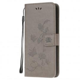 Bloemen Book Case Motorola Moto G10 / G20 / G30 Hoesje - Grijs