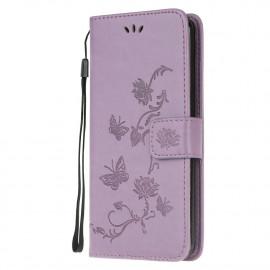 Bloemen Book Case Motorola Moto G10 / G20 / G30 Hoesje - Paars