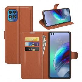 Book Case Motorola Moto G100 Hoesje - Bruin
