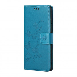 Bloemen Book Case Xiaomi Redmi Note 10 5G Hoesje - Blauw