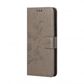 Bloemen Book Case Xiaomi Redmi Note 10 5G Hoesje - Grijs