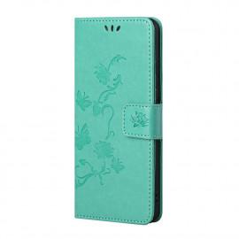 Bloemen Book Case Xiaomi Redmi Note 10 5G Hoesje - Cyan