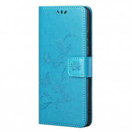 Bloemen Book Case Nokia G10 / G20 Hoesje - Blauw