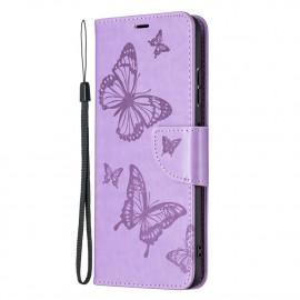 Bloemen Book Case Samsung Galaxy A22 5G Hoesje - Paars