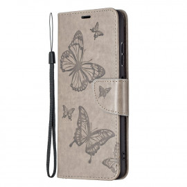 Bloemen Book Case Samsung Galaxy A22 5G Hoesje - Grijs