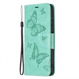 Bloemen Book Case Samsung Galaxy A22 5G Hoesje - Cyan