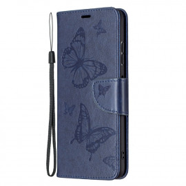 Bloemen Book Case Samsung Galaxy A22 5G Hoesje - Blauw
