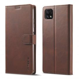 Luxe Book Case Samsung Galaxy A22 5G Hoesje - Donkerbruin