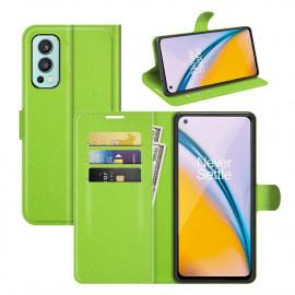 Book Case OnePlus Nord 2 Hoesje - Groen