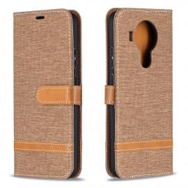 Denim Book Case Nokia 5.4 Hoesje - Bruin