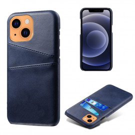 Dual Card Back Cover iPhone 13 Hoesje - Blauw