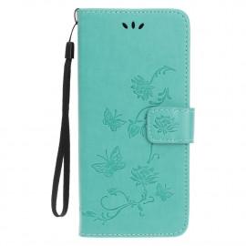 Bloemen Book Case iPhone 13 Mini Hoesje - Cyan