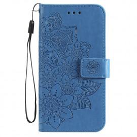 Bloemen Book Case Xiaomi Poco X3 Pro Hoesje - Blauw
