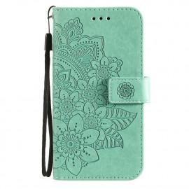 Bloemen Book Case Xiaomi Poco X3 Pro Hoesje - Cyan