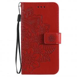 Bloemen Book Case Xiaomi Poco X3 Pro Hoesje - Rood