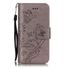 Book Case Hoesje Bloemen iPhone 5S / SE - Grijs