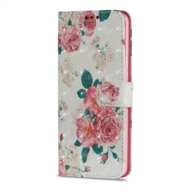 Shiny Book Case Samsung Galaxy S9 Plus - Peony Flower