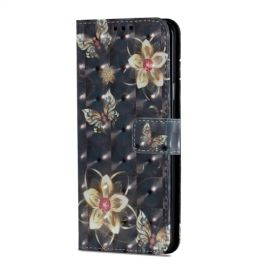Shiny Book Case Samsung Galaxy S9 Plus - Golden Flower