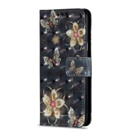 Shiny Book Case Samsung Galaxy S9 - Golden Flower